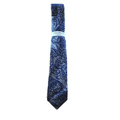 Construct Engineered Slim FIt TIe Paisley Silver Blue NEW Skinny NEW