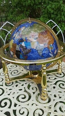 Large 18 'Semi Precious Gemstone Blue Lapis Brass World Globe