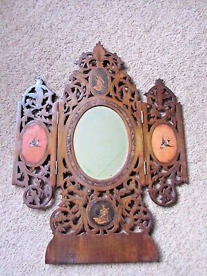 Antique SORRENTO WARE Triptych Inlaid olive wood Mirror beautifully handmade