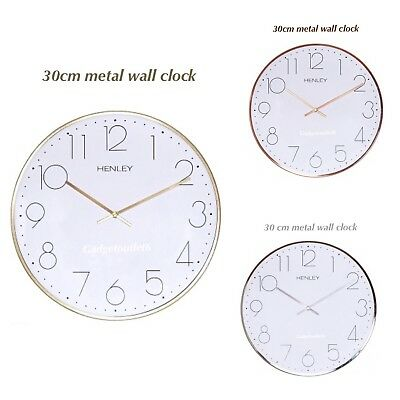 Henley 30 Cm Silent Sweep Contemporary Slim Metal Wall Clocks Chrome No Ticking