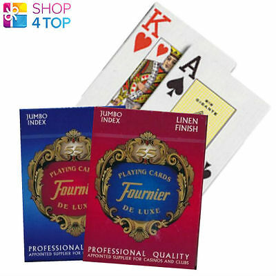 Fournier 818 Plastic Coated Poker Playing Cards Deck Red Blue Jumbo Index New