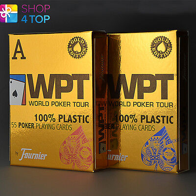 Fournier Wpt Gold Edition World Poker Tour Plastic Playing Cards Deck Jumbo New
