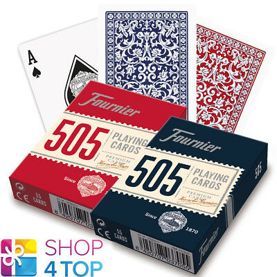 Fournier 505 Plastic Coated Poker Playing Cards Deck Red Blue Standard New