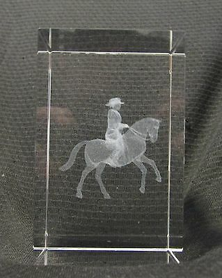 Laser 3D Etched Crystal Ornament Gift PaperWeight + FREE GIFT BOX Cowboy & Horse