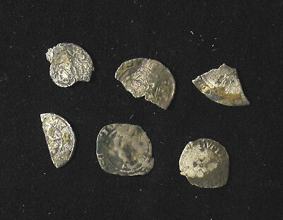 Lot of 6 Medieval silver coins / fragments