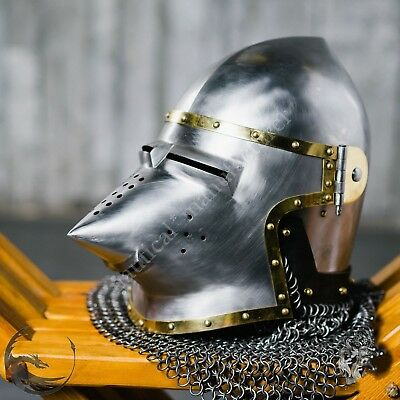 Antique Replica Medieval- Hounskull Pig Face Armour Helmet 13th Century- costume