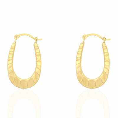 14k Yellow Gold High Polished Textured Oval Creole Hoop Earrings