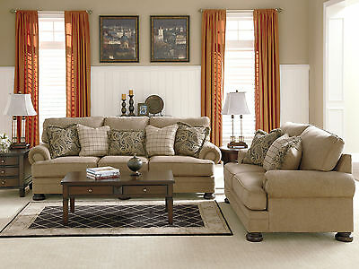 JUPITER Traditional Living Room Couch Set   NEW Brown Chenille Sofa Loveseat