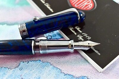 NEW+BOX Aurora 88 Limited Edition Sigaro Blu Blue Lacquer Fountain Pen 18k F Nib
