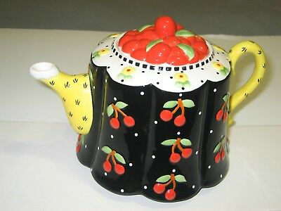 Mary Engelbreit Cherry Cameo ~ Black With Cherries, Checks and Cherry Lid ~ New