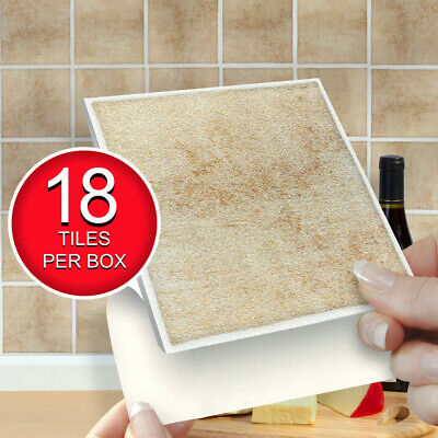 "18 Rhonda 4"" x 4"" Stick On Self Adhesive Tile Stickers Kitchen & Bathroom"
