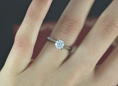 87bac5661f832 $15,500 CARTIER PLATINUM GIA 0.91ct Round Diamond Solitaire Engagement Ring  4.5