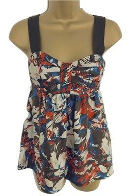 Stunning Armani Exchange Multicoloured Silk Strappy Top Size S UK 8