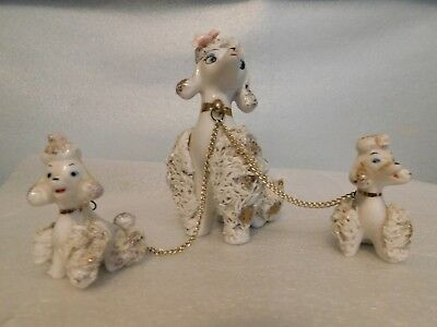 White with Gold Gilding Mother Poodle and Two Babies