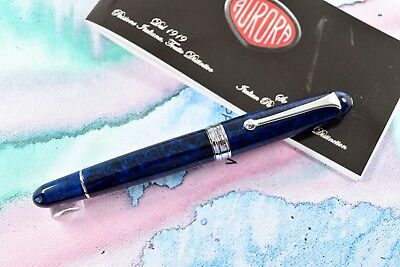 NEW+BOX Aurora 88 Limited Edition Sigaro Blu Blue Lacquer Fountain Pen 18k B Nib