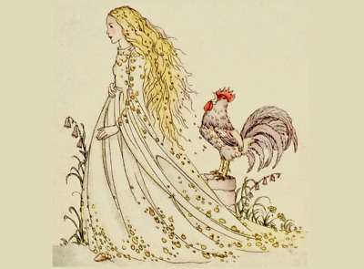 Repro Fairy Tale Postcard: Vintage Print of Princess w Rooster - Grimm, 1920s