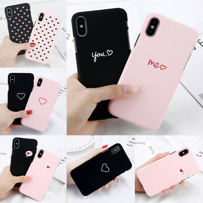 Fashion Love Heart Painted Phone Case Couples Cover For iPhone XS Max XR 8 7 6 5