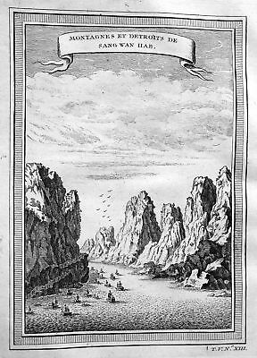 1750 mountains Berge Sang Wan Hab China Ansicht view Kupferstich antique print