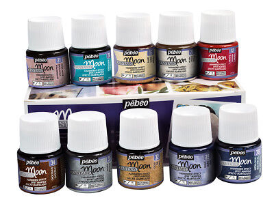 Pebeo Fantasy Moon Reaktiv Multi-Oberflächen Paint Assorted 10 X 45ml Box Set
