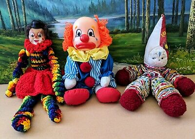 Creepy Clown Dolls, 2-Vintage Homemade, 1-Sad/Happy Faced, Lot of 3 Dolls