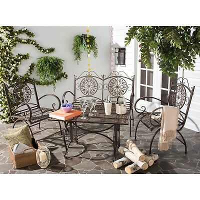 Outdoor Rustic Wrought Iron Vintage Patio Set Dinging Table Chairs Furniture New