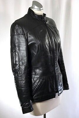VTG 70s GOLDEN CROWN BRISTOL Womens Cafe Racer Leather Jacket made in Montreal