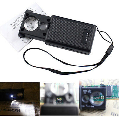 Portable Mini 30x 60x Magnifier Jewelers Loupe Loop Glass with LED UV Lights