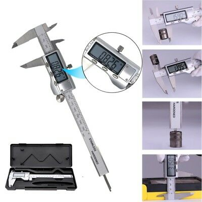 "Stainless Steel Electronic Digital LCD Vernier Caliper Micrometer Guage 6"" 150mm"