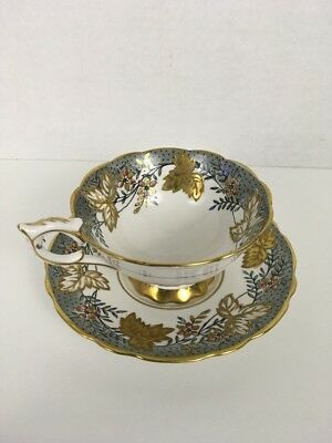 Royal Stafford LEAF BERRY Cup and Saucer, Gray and Red Berries / Gold Leaves