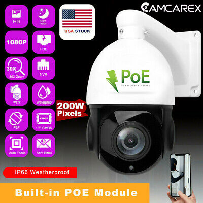 POE 30X ZOOM HD 1080P 2.0MP Outdoor PTZ IP Speed Dome Camera Waterproof  IR-Cut