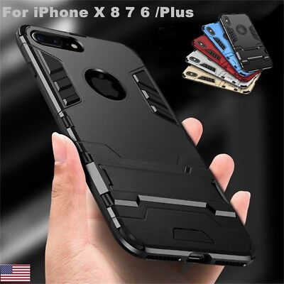 For iPhone X 6s 7 8 Plus Hybrid Rubber Hard Slim Case Cover with Kick-Stand
