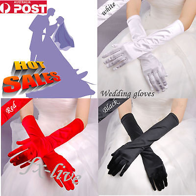 Ladies long Satin Gloves Opera Costume Bridal Party Wedding Prom Womens Glove