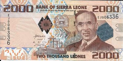 SIERRA LEONE 2000 Leones ~ P - 31, UNC from 2010 ~ Watermark: LION'S Head; BOAT