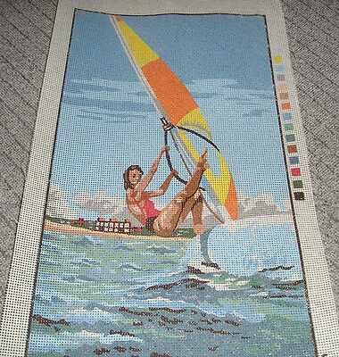 Sailboarder Tapestry/Needlepoint Canvas 25cm wide x 44cm high