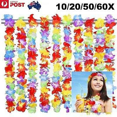 10/20/50/60PCS Long Hawaiian Flower Hula Lei Leis Beach Luau Costume Party 105cm