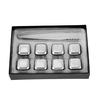 8x Stainless Steel Whiskey Stone Ice Cubes Square Glacier Chiller Drink