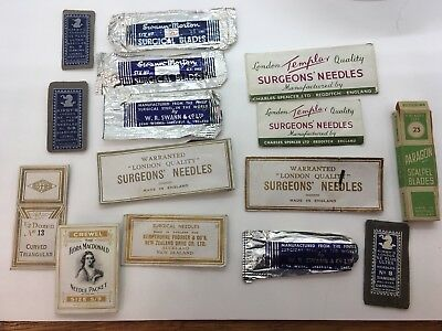 Vintage Medical / Surgical Templar SURGEONS' NEEDLES Sewing Needles Assortment