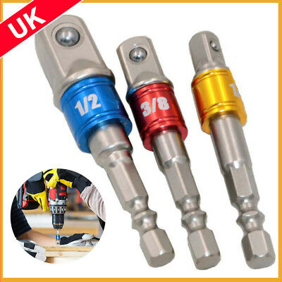 "3PC Drill Socket Adaptor Hex Drive To 1/4"" 3/8"" 1/2"" Impact Drill BIts Driver"