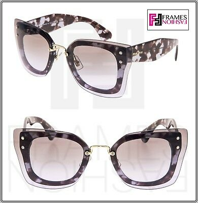 fd2f13218dc MIU MIU REVEAL Shield Square Oversized Sunglasses MU04RS Lilac Havana Brown  04R