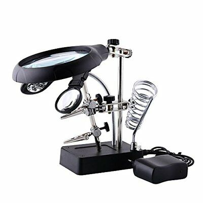 2.5x 7.5x 10x Led Light Magnifier Helping Hand Repair Clamp Alligator Auxiliary