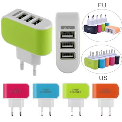 Universal Travel 5V 3.1A Port 3USB AC Wall Home Charger Power Adapter EU/US