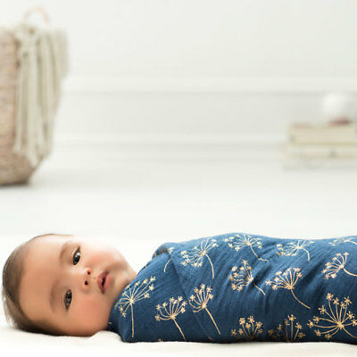 aden and anais breathable muslin 3-pack baby metallic swaddles: navy deco