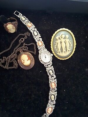 Cameo collection. Brooch, ring, necklace, watch