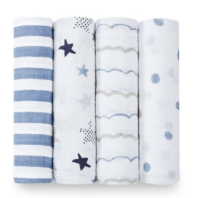 aden and anais soft muslin large baby swaddles 4-pack: rock star