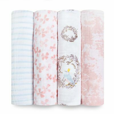aden and anais soft muslin large baby swaddles 4-pack: birdsong
