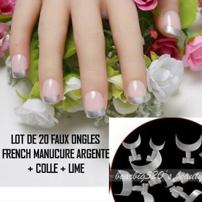 Lot 20 Tips Faux Ongle Argent French Manucure Gel Uv Vernis Colle Lime Ong107