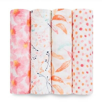 aden and anais soft muslin large baby swaddles 4-pack: petal blooms