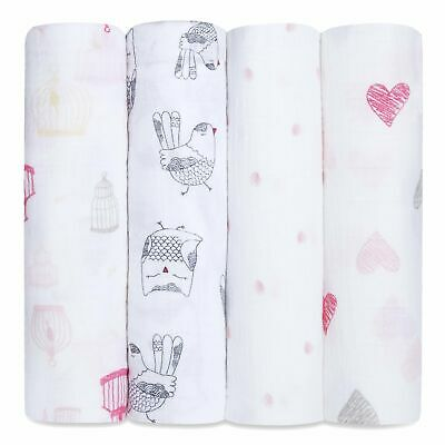 aden and anais soft muslin large baby swaddles 4-pack: lovebird