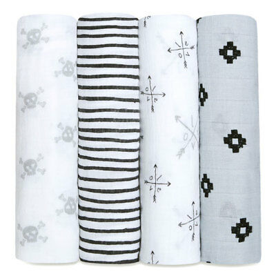 aden and anais soft muslin large baby swaddles 4-pack: lovestruck