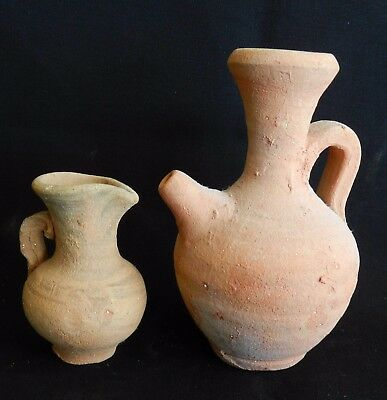Set of 2 Biblical Ancient Holy Land Roman Pottery Clay PITCHER Wine Jugs Replica